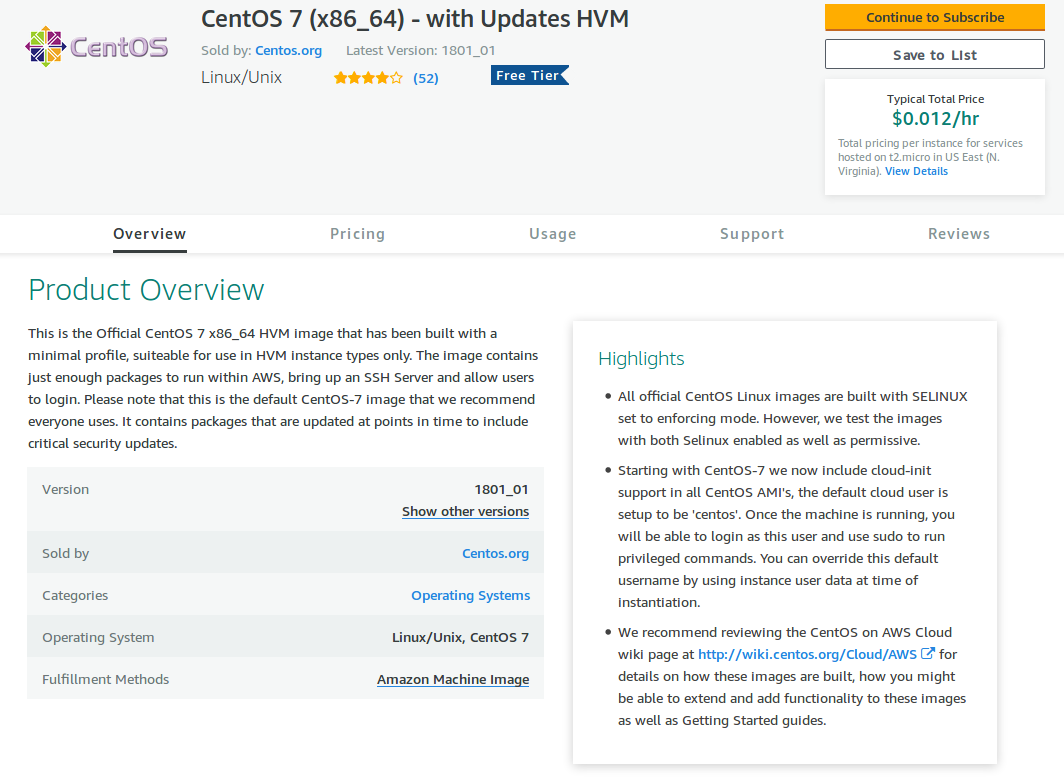 CentOS image page on the AWS marketplace